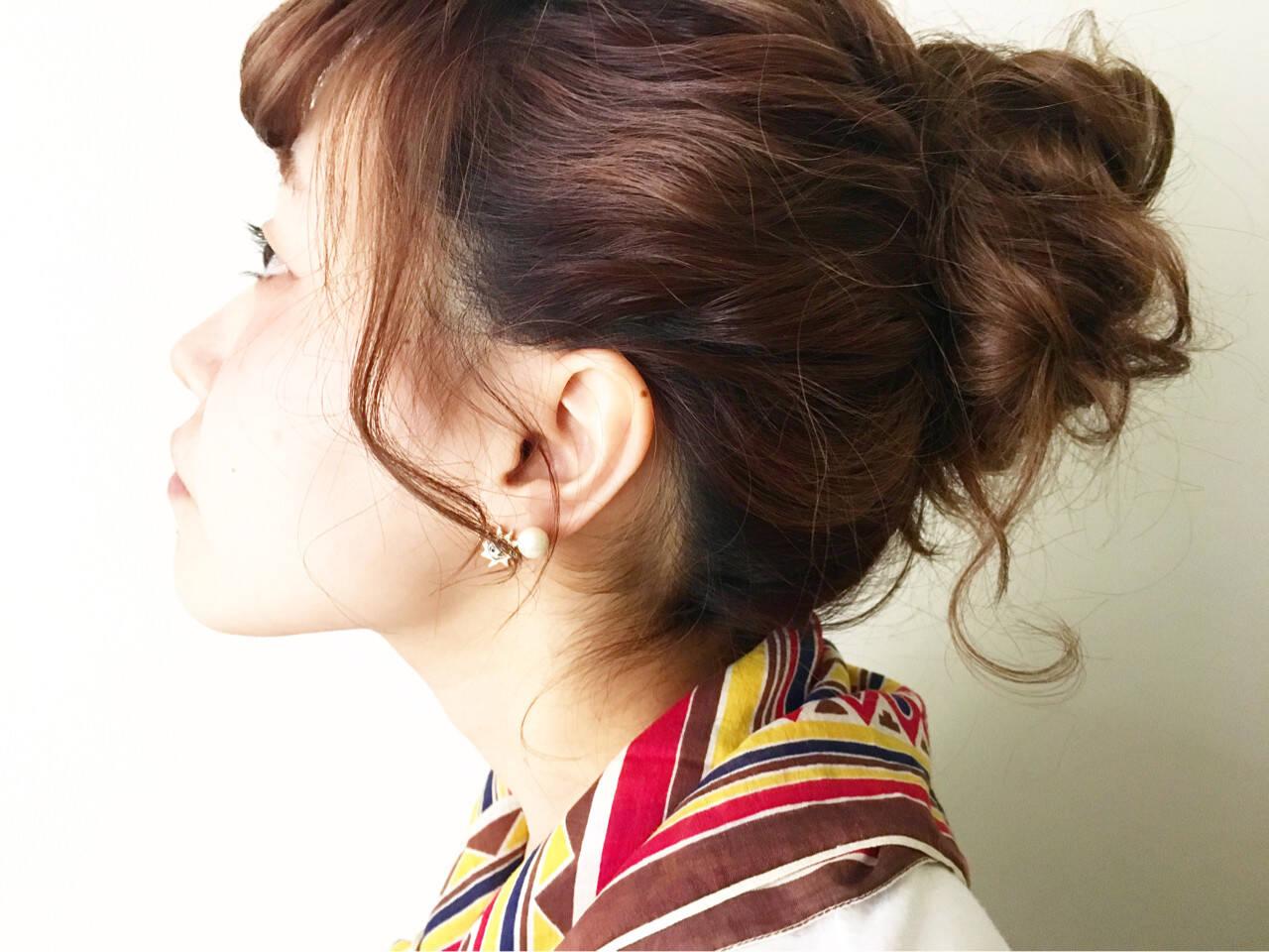 簡単ヘアアレンジ 夏 ロング ショートヘアスタイルや髪型の写真・画像