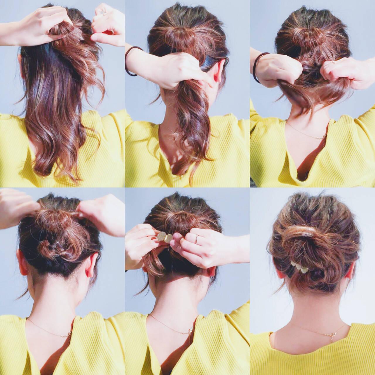 エレガント くるりんぱ ヘアアレンジ 簡単ヘアアレンジヘアスタイルや髪型の写真・画像