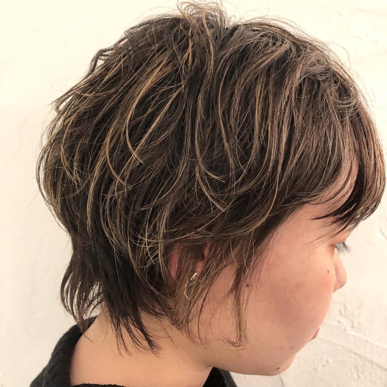ハイライト ショート 外国人風カラー コントラストハイライトヘアスタイルや髪型の写真・画像