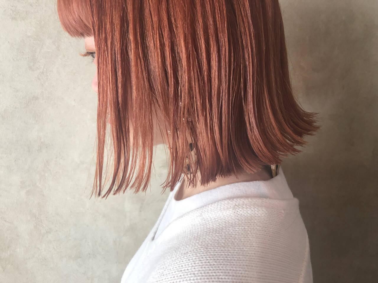 ボブ 切りっぱなしボブ オレンジベージュ アプリコットオレンジヘアスタイルや髪型の写真・画像