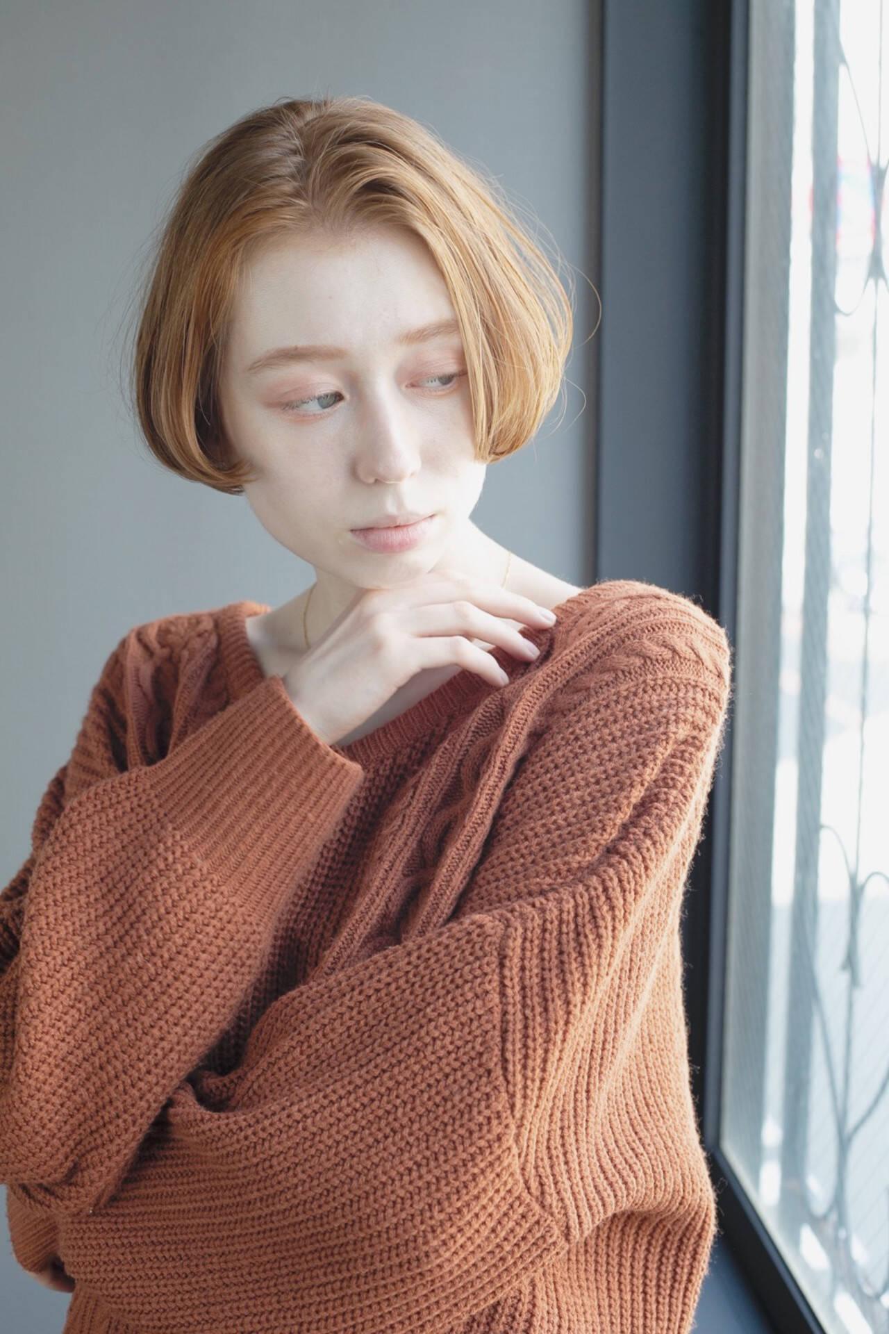 切りっぱなしボブ ナチュラル ミニボブ ショートボブヘアスタイルや髪型の写真・画像