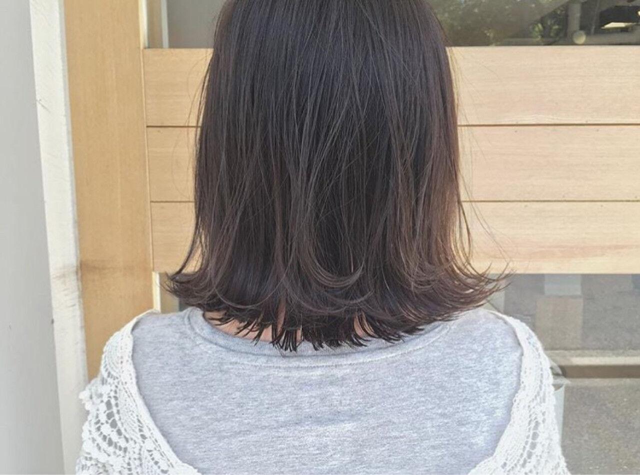 ハイライト リラックス 外ハネ ボブヘアスタイルや髪型の写真・画像