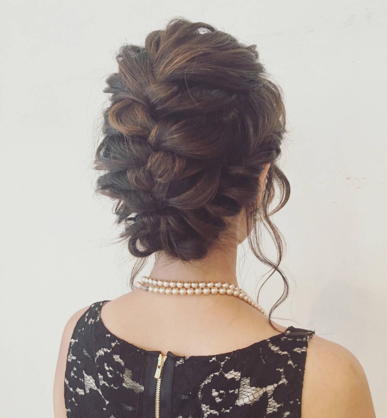 ヘアアレンジ 裏編み込み 編み込み ミディアムヘアスタイルや髪型の写真・画像
