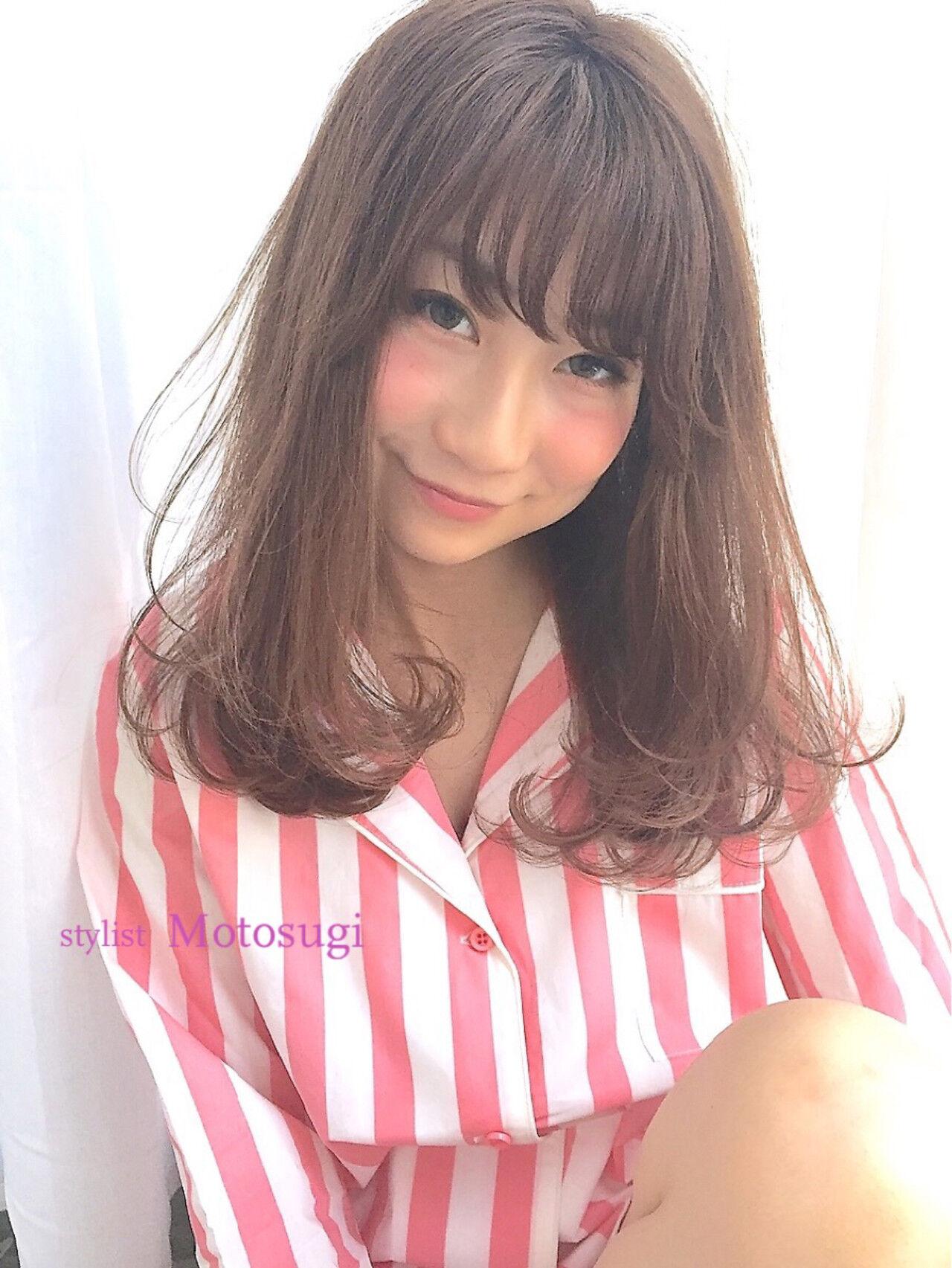 ワンカールパーマ モテ髪 ナチュラル セミロングヘアスタイルや髪型の写真・画像