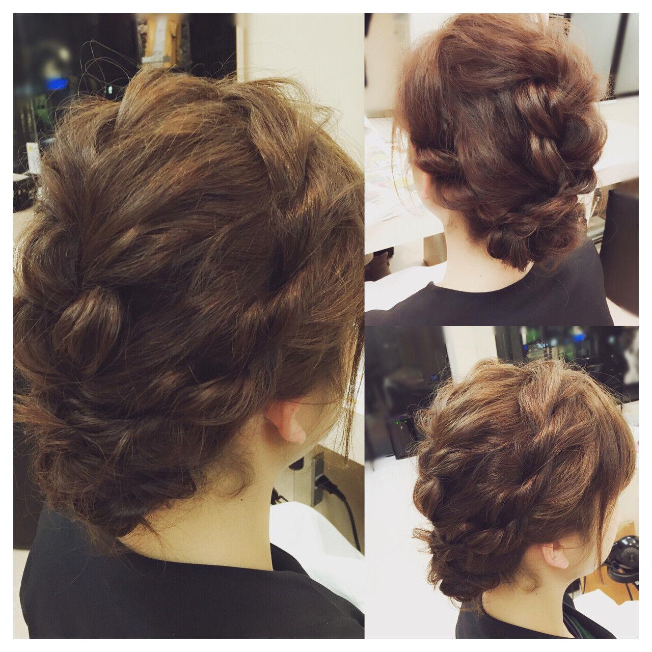フェミニン セミロング 結婚式 まとめ髪ヘアスタイルや髪型の写真・画像