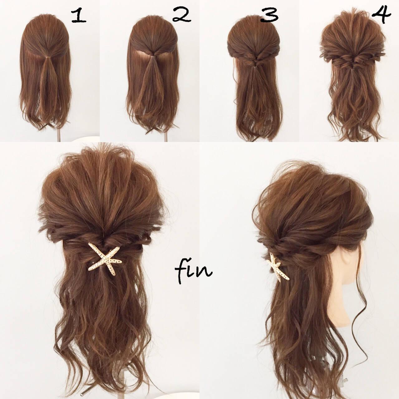 ナチュラル 大人女子 ヘアアレンジ ミディアムヘアスタイルや髪型の写真・画像