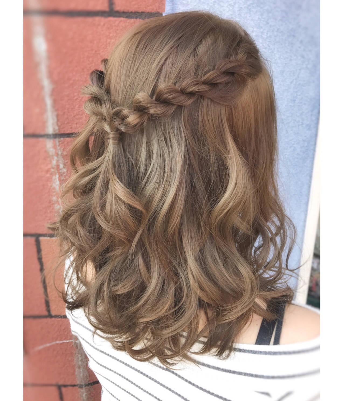 外国人風 結婚式 ヘアアレンジ ハーフアップヘアスタイルや髪型の写真・画像
