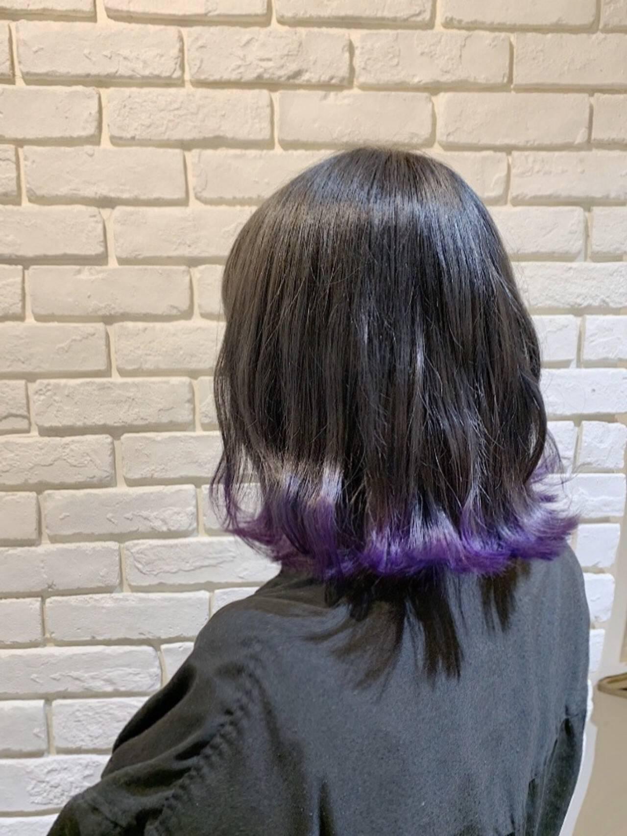パープル ミディアム 裾カラー ガーリーヘアスタイルや髪型の写真・画像