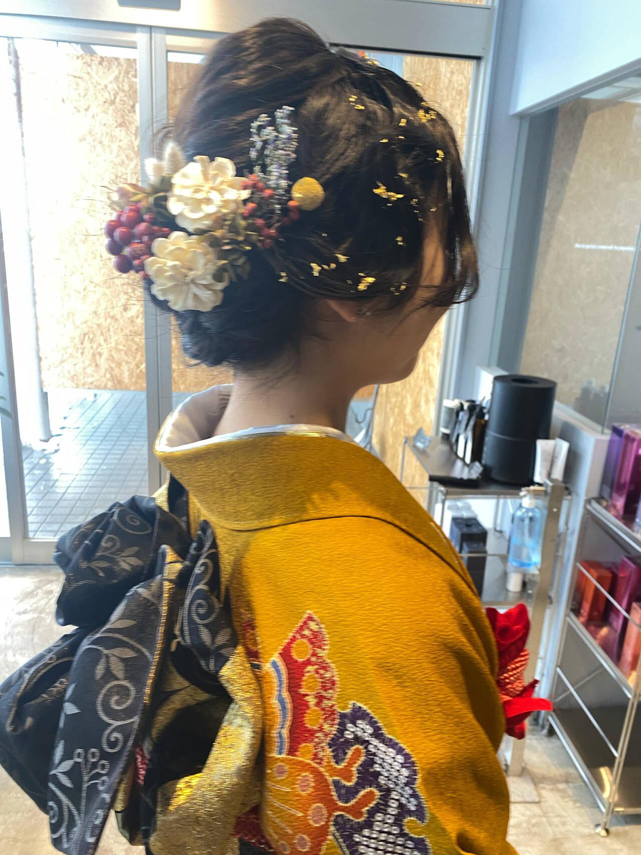 ロング ナチュラル 成人式ヘア フィンガーウェーブヘアスタイルや髪型の写真・画像