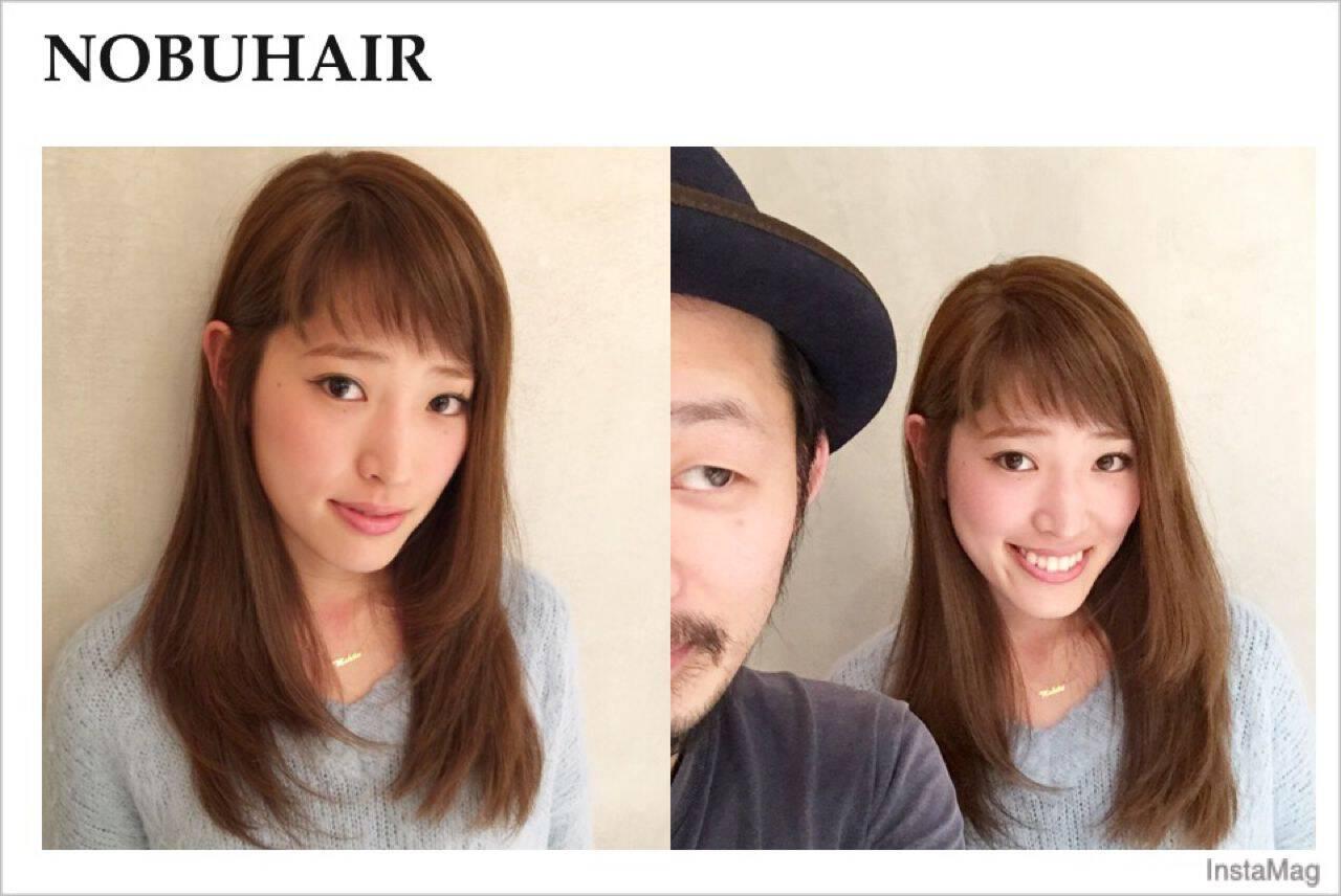 モード ウェーブ ストリート ストレートヘアスタイルや髪型の写真・画像
