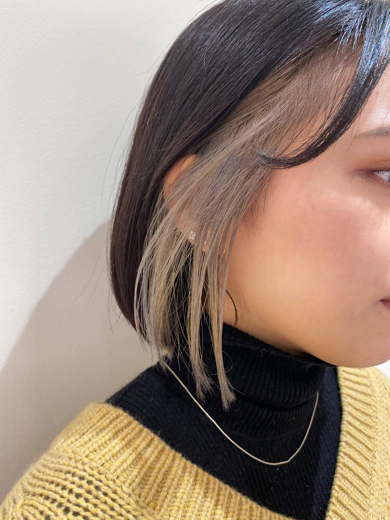 モード 暗髪女子 ボブ 切りっぱなしボブヘアスタイルや髪型の写真・画像