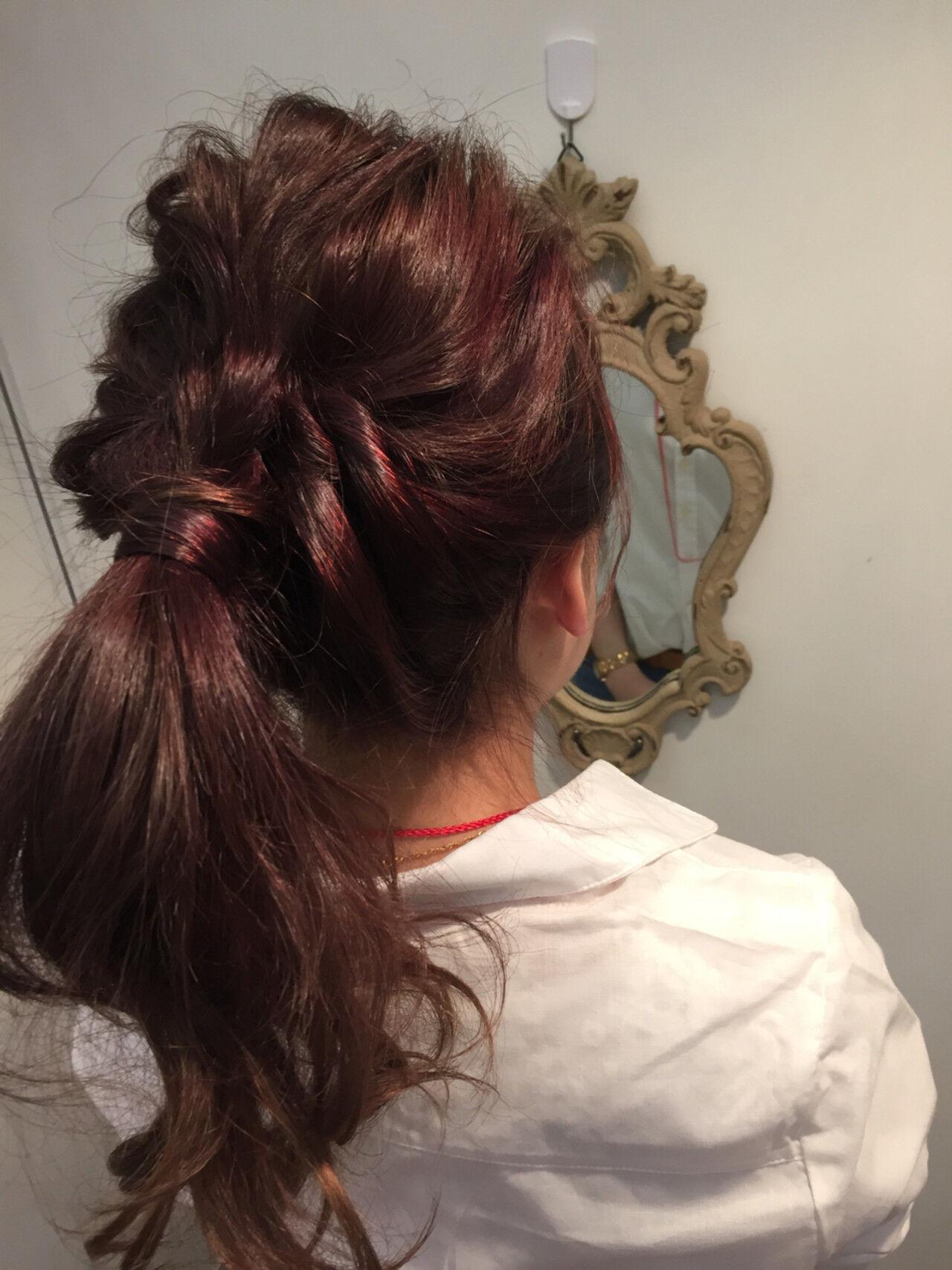 ロング 夏 簡単ヘアアレンジ ゆるふわヘアスタイルや髪型の写真・画像