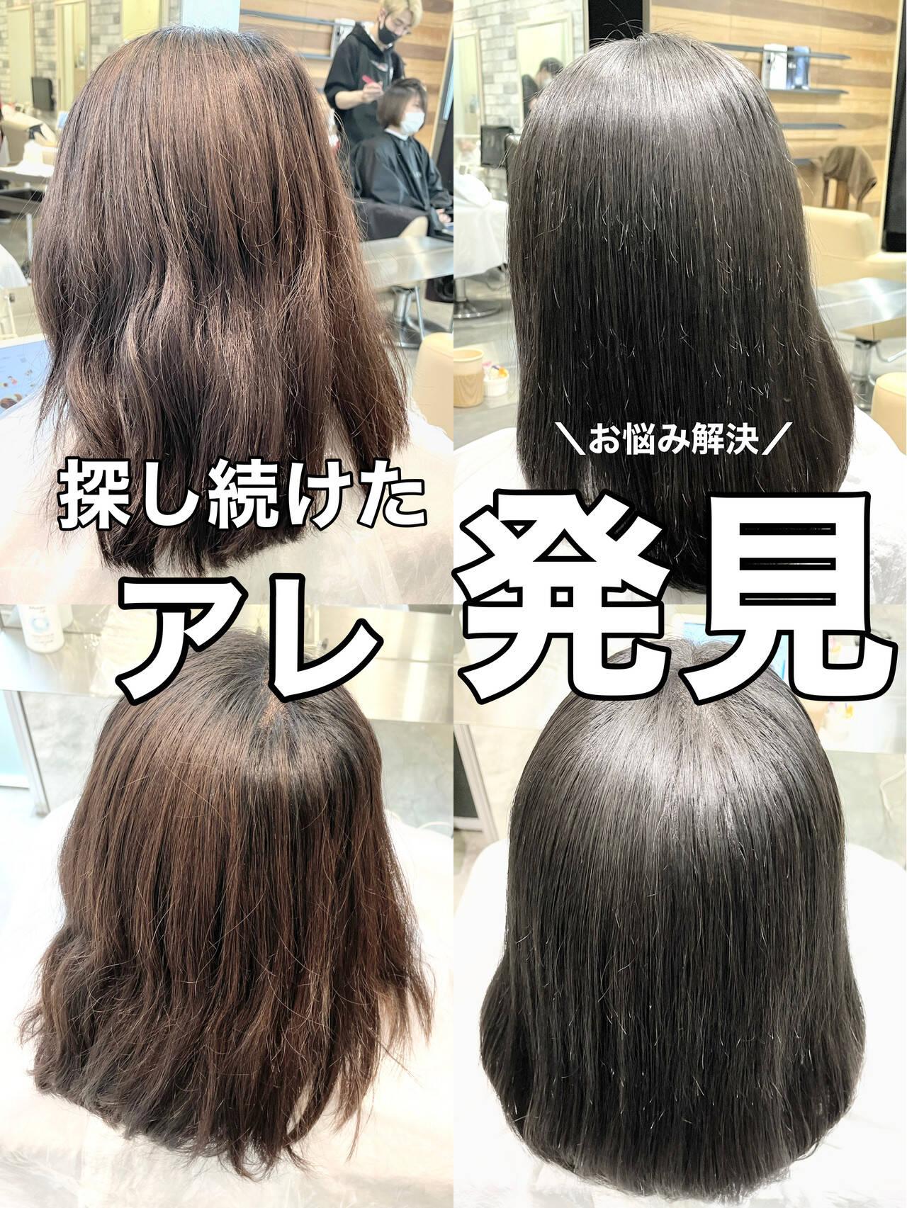 ストレート 縮毛矯正 グレージュ ナチュラルヘアスタイルや髪型の写真・画像