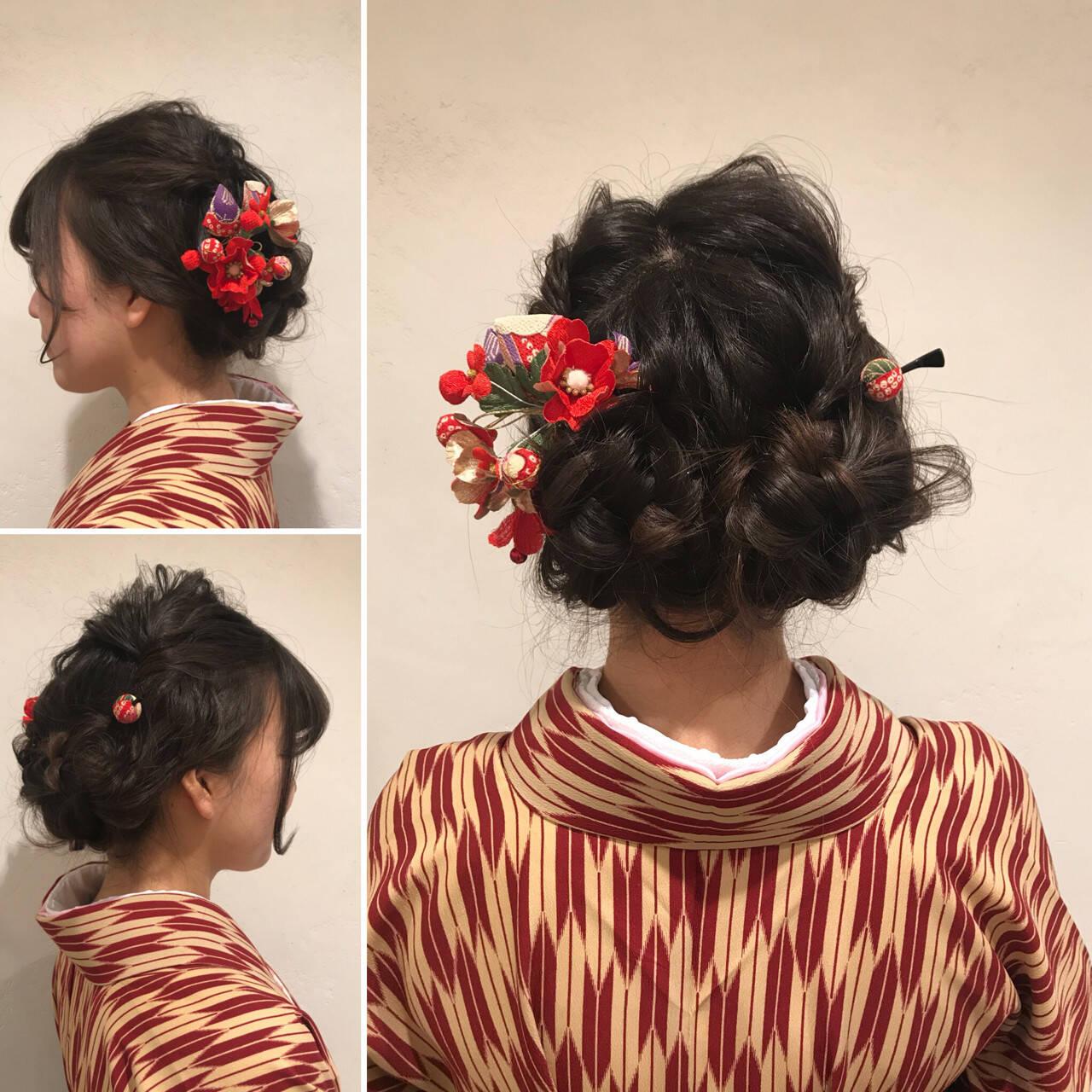 謝恩会 成人式 四つ編み ロングヘアスタイルや髪型の写真・画像