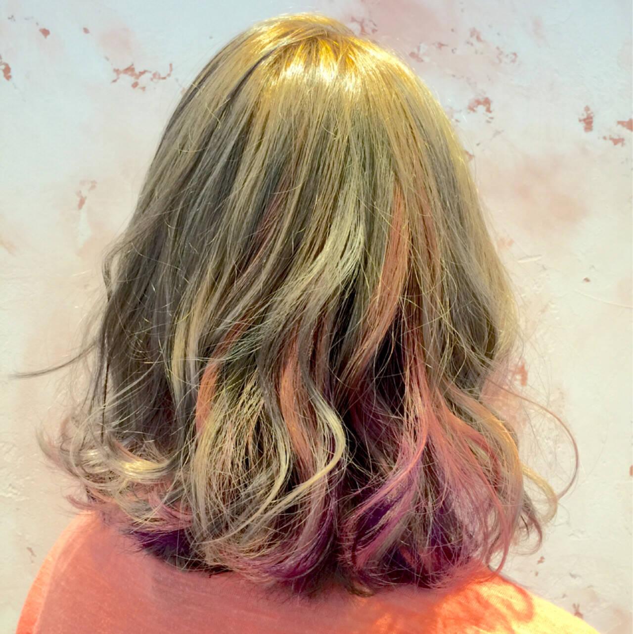 グラデーションカラー 外国人風 ゆるふわ ハイライトヘアスタイルや髪型の写真・画像