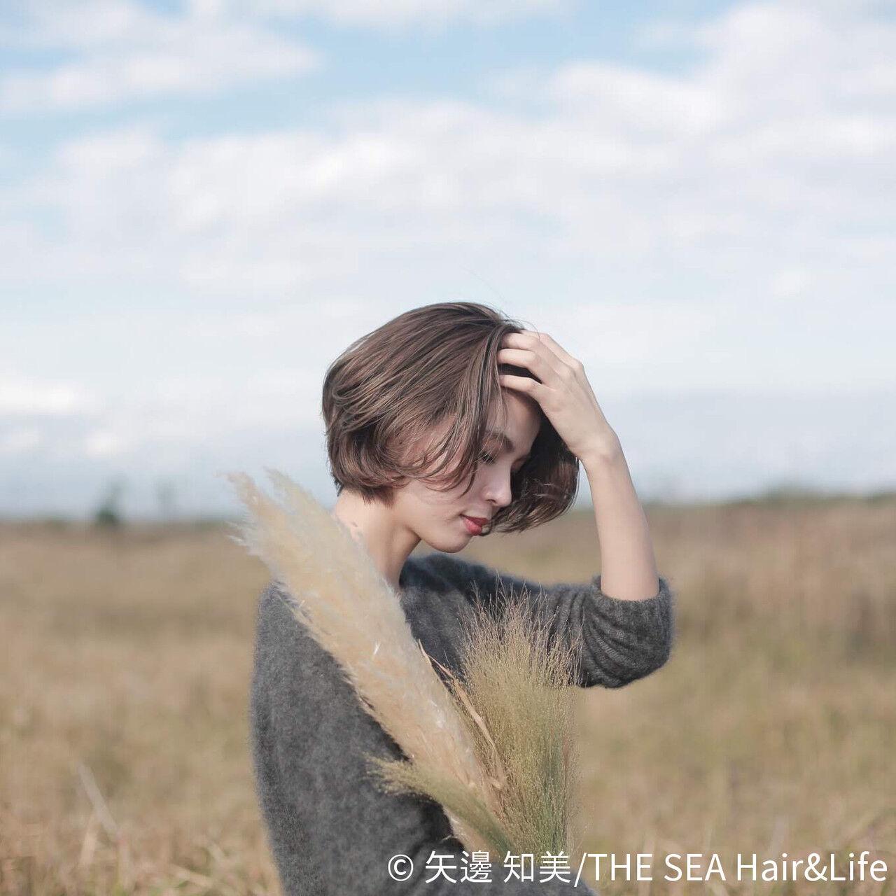 長めバング ナチュラル 外国人風カラー ショートボブヘアスタイルや髪型の写真・画像