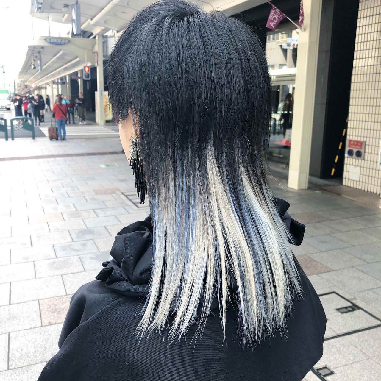 セミロング ブリーチ ブリーチオンカラー モードヘアスタイルや髪型の写真・画像