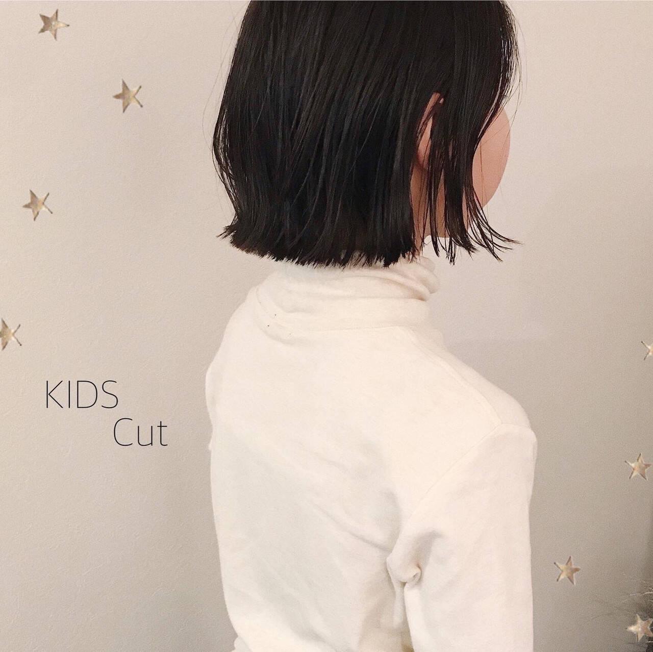 ナチュラル 子供 キッズカット ボブヘアスタイルや髪型の写真・画像