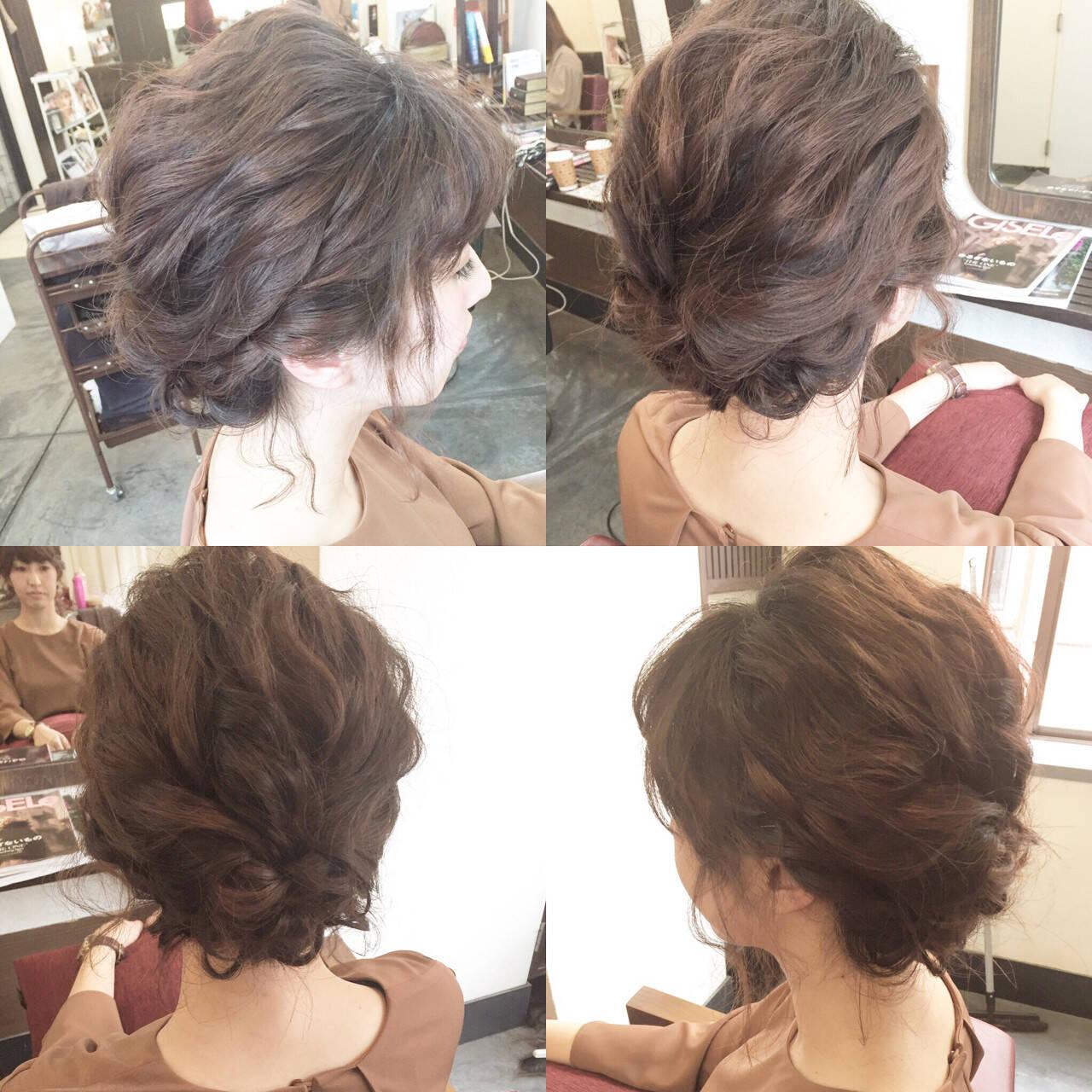 大人女子 簡単ヘアアレンジ ミディアム 結婚式ヘアスタイルや髪型の写真・画像