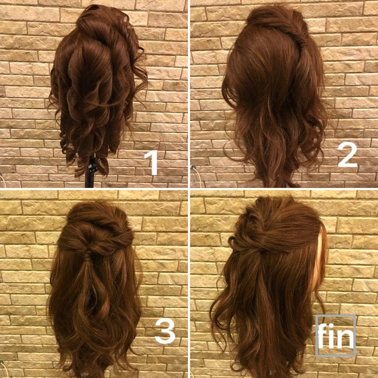 簡単ヘアアレンジ 結婚式 ヘアアレンジ ミディアムヘアスタイルや髪型の写真・画像
