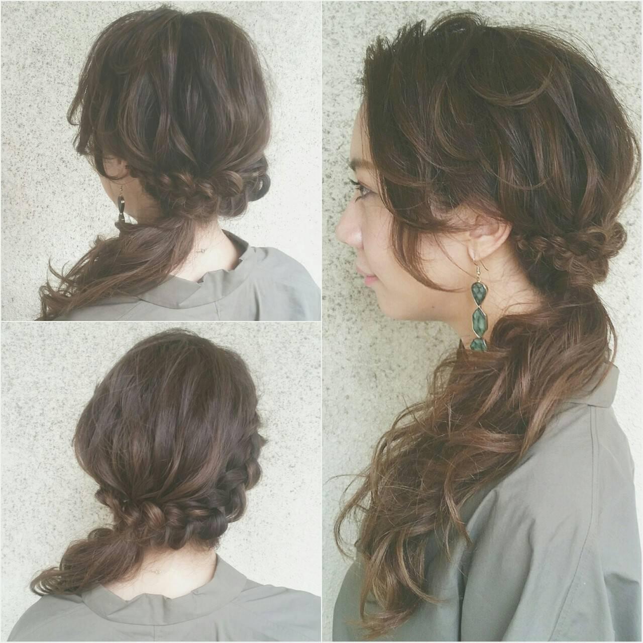 ショート 簡単ヘアアレンジ 大人かわいい セミロングヘアスタイルや髪型の写真・画像