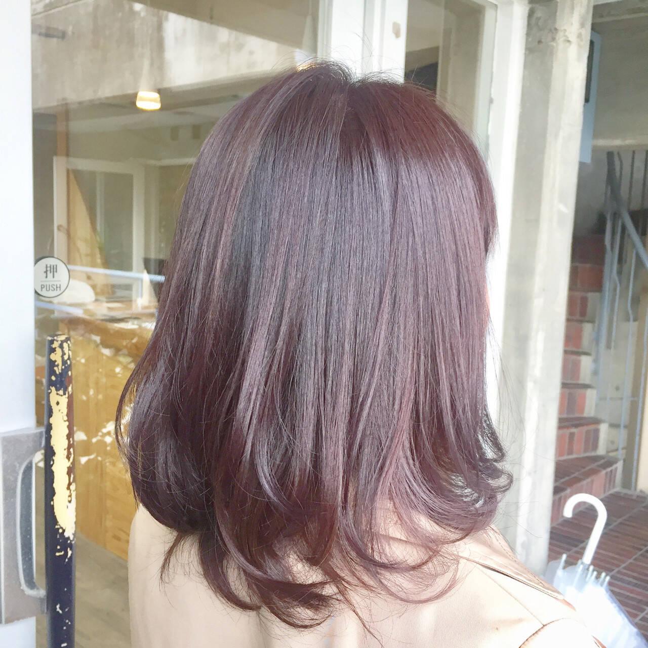 セミロング ピンク ガーリー パープルヘアスタイルや髪型の写真・画像