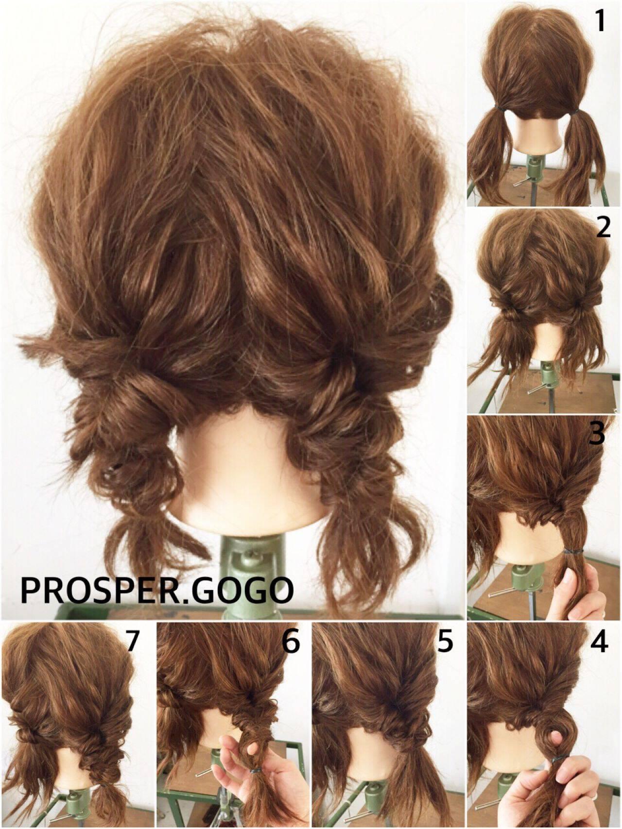 セルフヘアアレンジ ヘアアレンジ ナチュラル ショートヘアスタイルや髪型の写真・画像