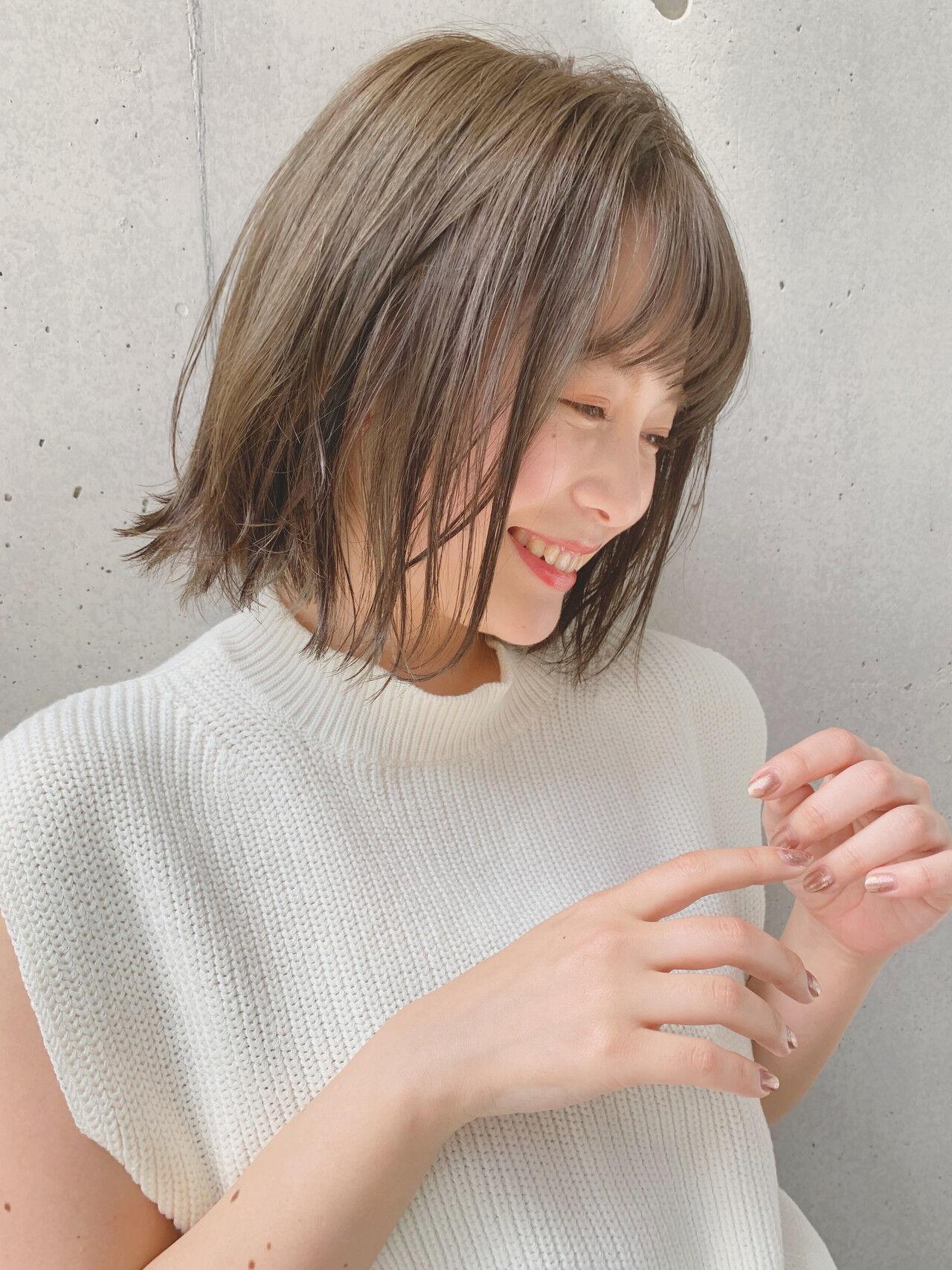 透明感カラー ショートボブ ナチュラル ミニボブヘアスタイルや髪型の写真・画像
