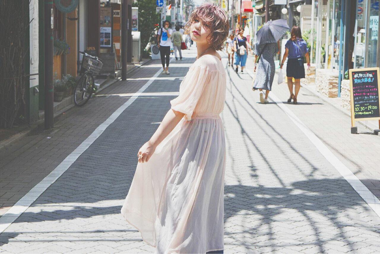 秋 ウェーブ ハイトーン ヘアアレンジヘアスタイルや髪型の写真・画像