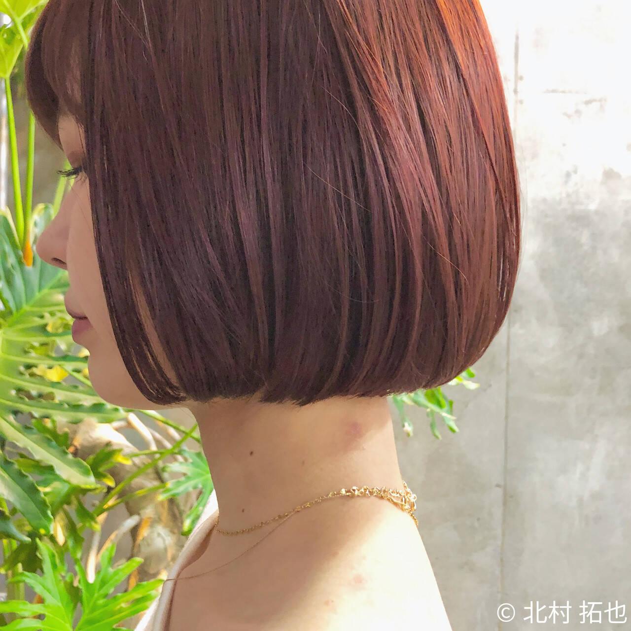 ミニボブ 透明感カラー ナチュラル カシスカラーヘアスタイルや髪型の写真・画像