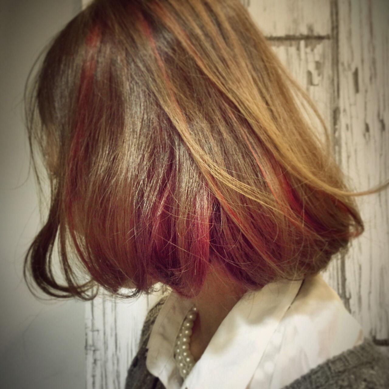 ストリート ハイライト ボブ ダブルカラーヘアスタイルや髪型の写真・画像