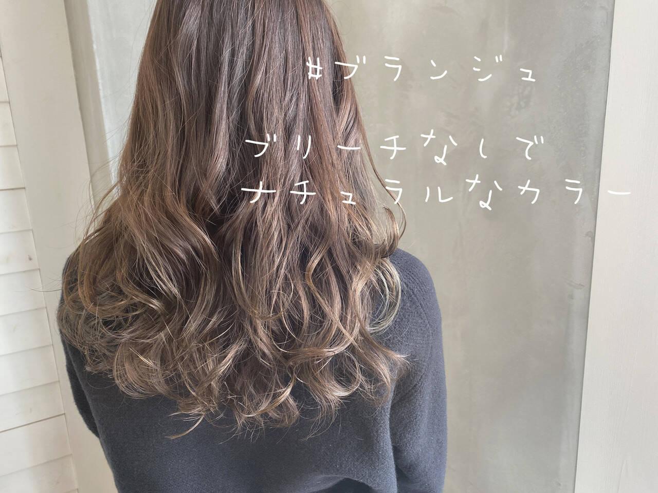 グレージュ ブラウンベージュ ナチュラルブラウンカラー セミロングヘアスタイルや髪型の写真・画像
