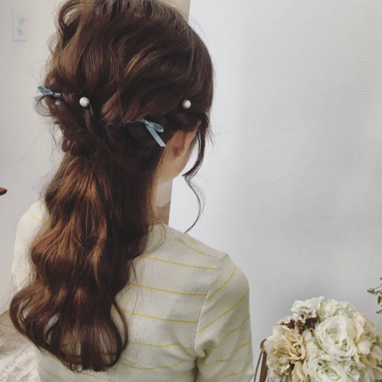 ハーフアップ 大人かわいい 波ウェーブ 結婚式ヘアスタイルや髪型の写真・画像