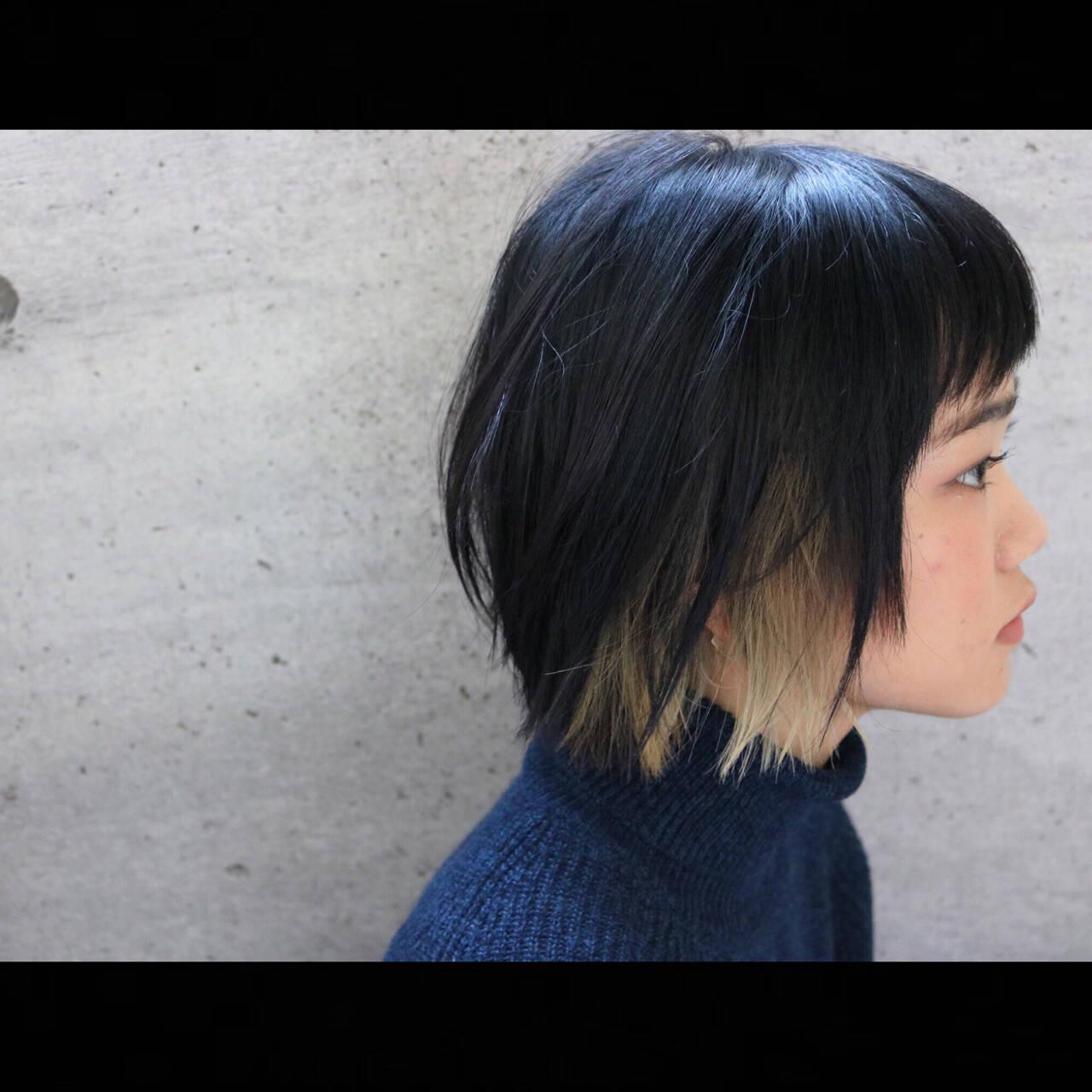 ナチュラル ボブ インナーカラー 切りっぱなしヘアスタイルや髪型の写真・画像