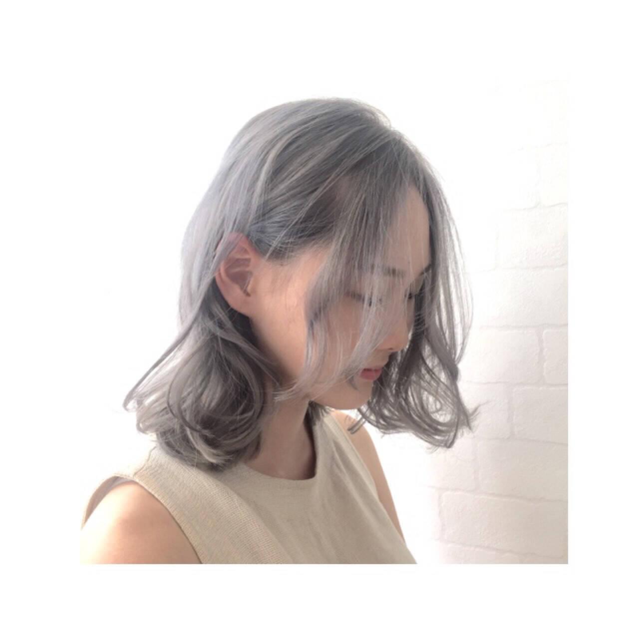 ストリート グラデーションカラー 外国人風 ミディアムヘアスタイルや髪型の写真・画像