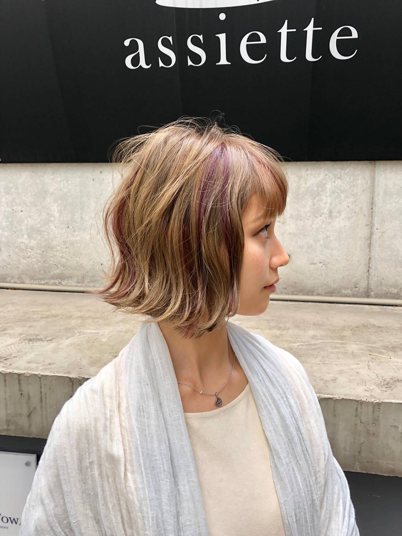 モテボブ ショートボブ 外ハネ フェミニンヘアスタイルや髪型の写真・画像