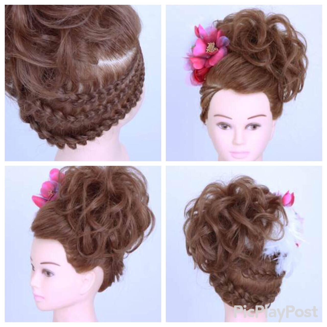 成人式 編み込み ミディアム アップスタイルヘアスタイルや髪型の写真・画像