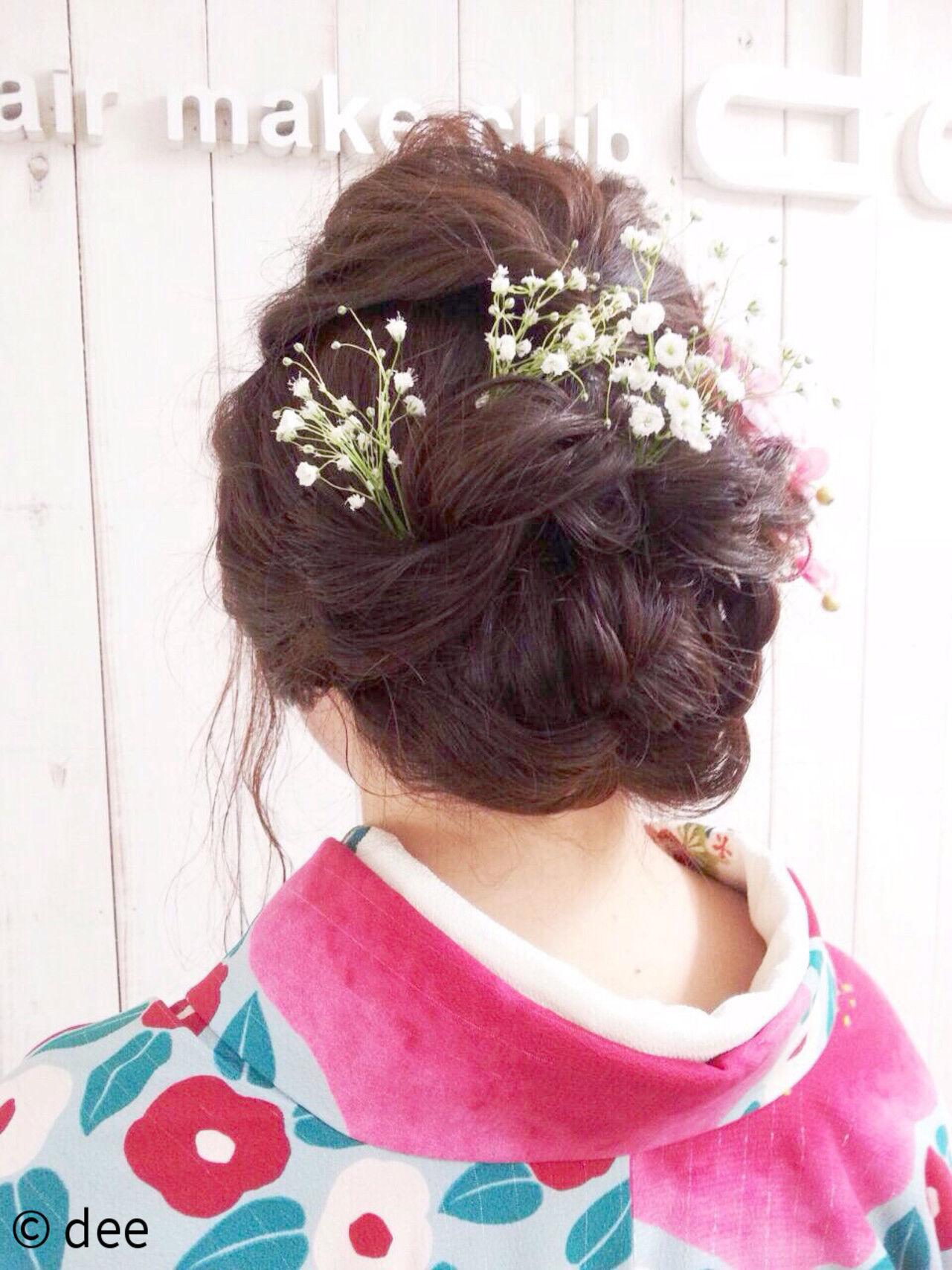 袴 ヘアアレンジ 花 謝恩会ヘアスタイルや髪型の写真・画像