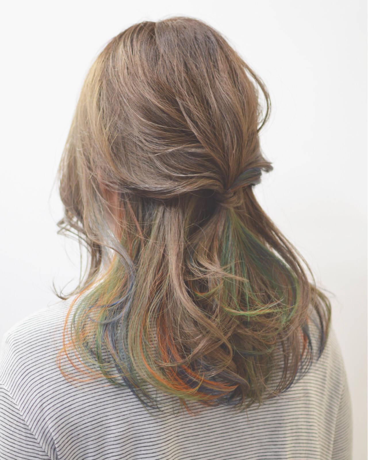 簡単ヘアアレンジ ショート ハーフアップ セミロングヘアスタイルや髪型の写真・画像