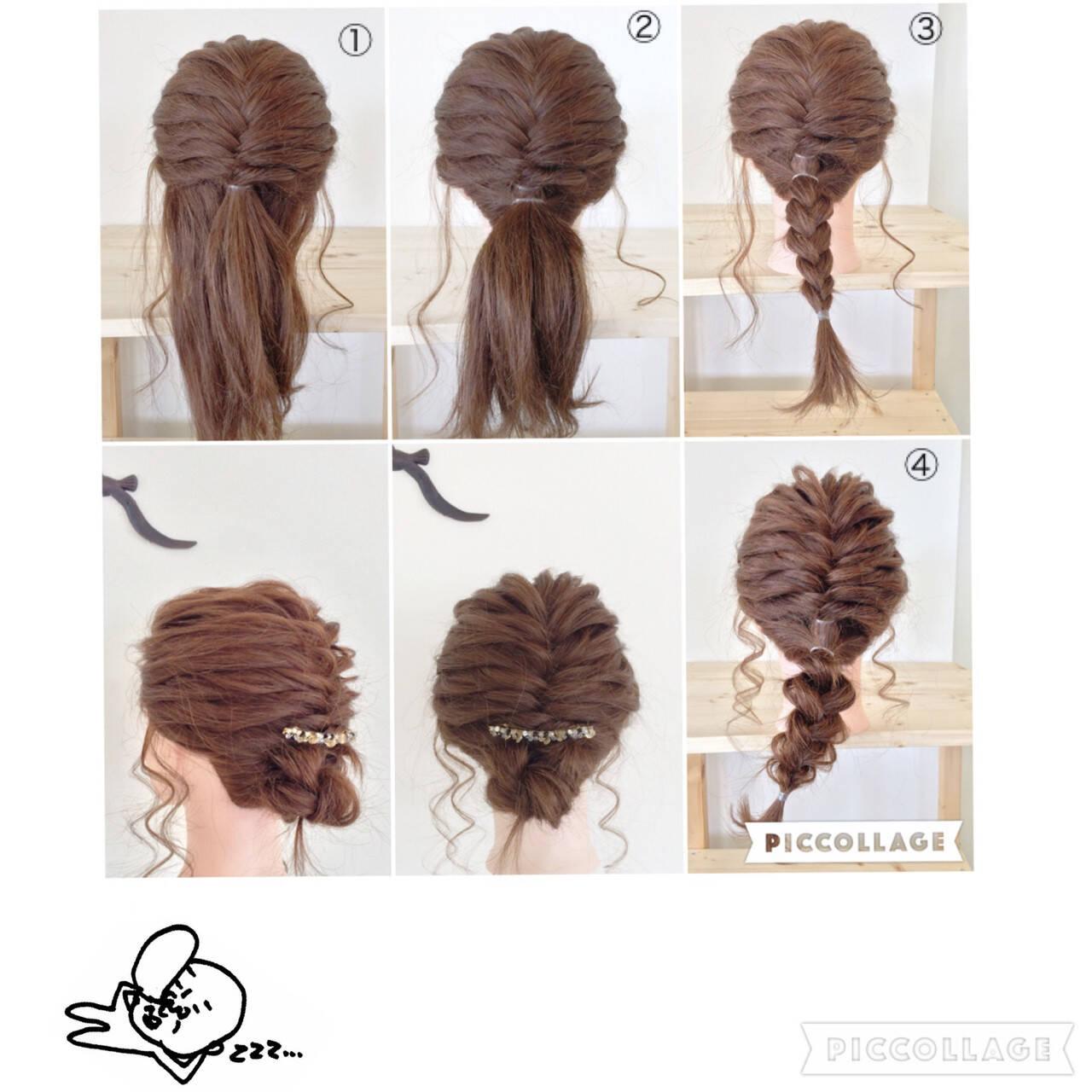 セミロング 編み込み ヘアアレンジ フィッシュボーンヘアスタイルや髪型の写真・画像