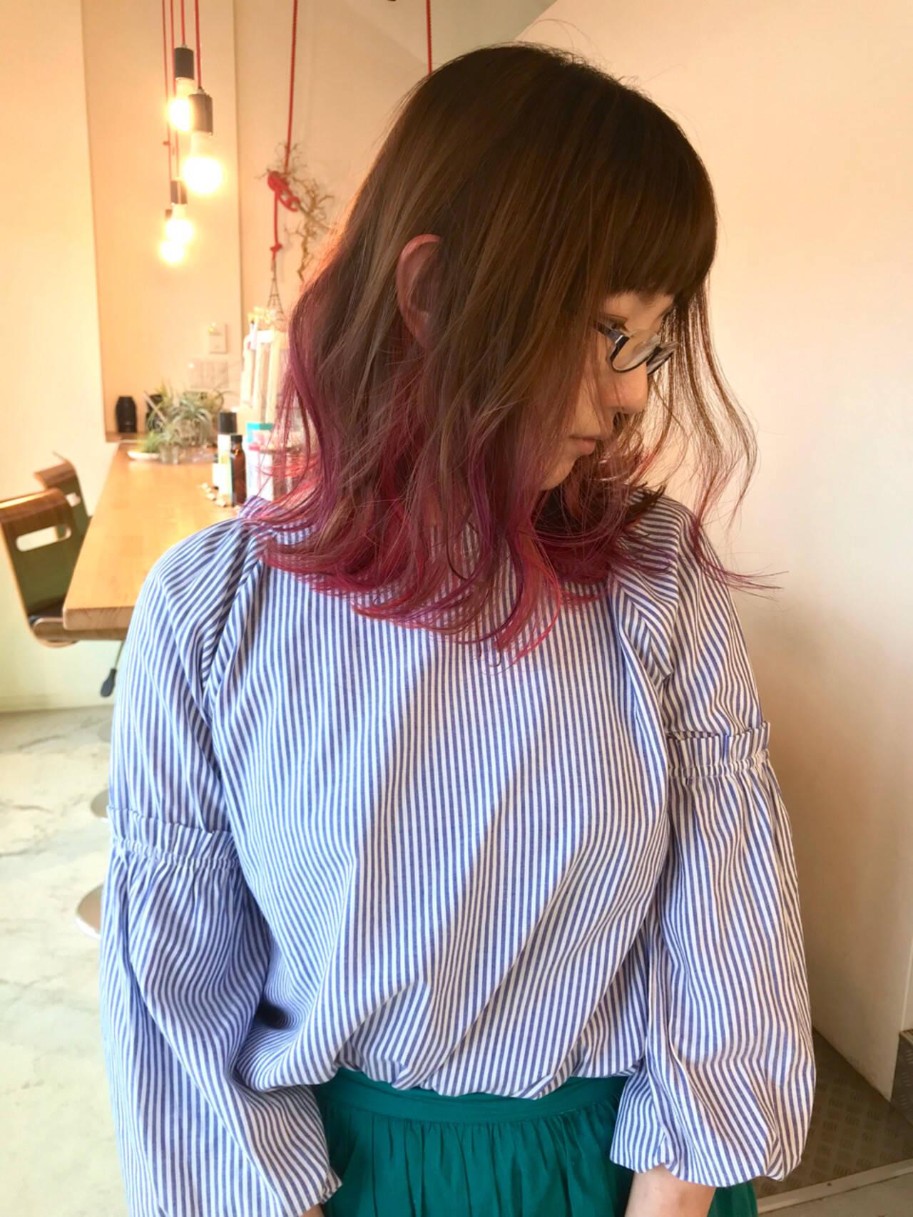 ピンク ロブ ストリート ミディアムヘアスタイルや髪型の写真・画像