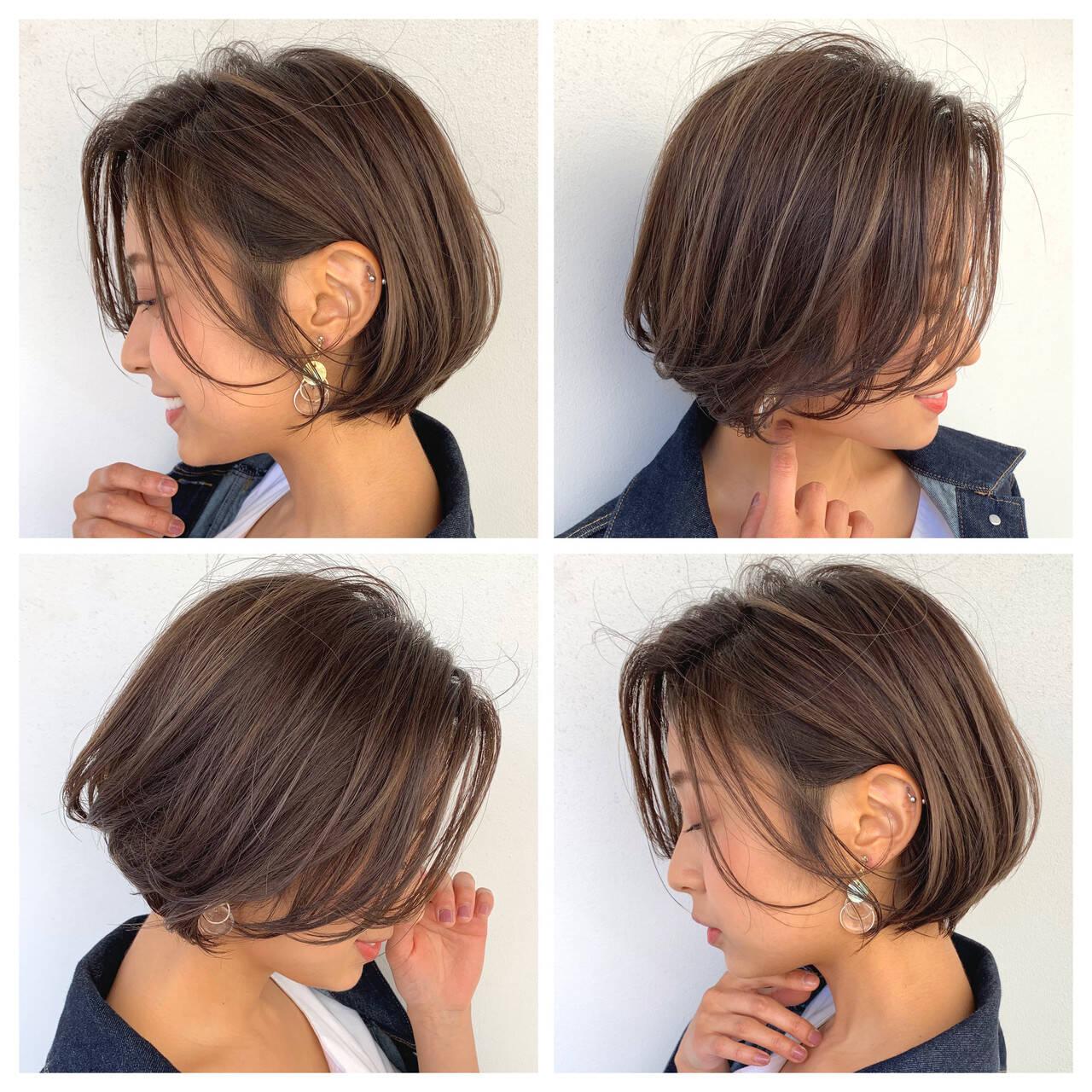 大人女子 ナチュラル ショートボブ モカベージュヘアスタイルや髪型の写真・画像