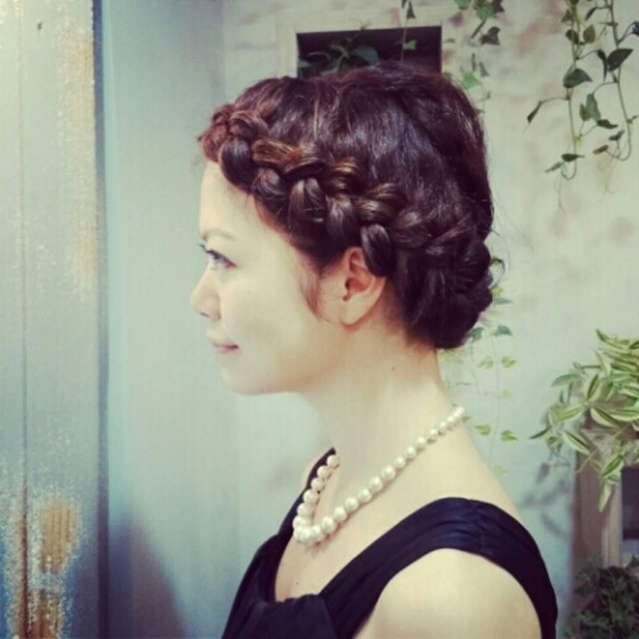 上品 編み込み クラシカル ヘアアレンジヘアスタイルや髪型の写真・画像