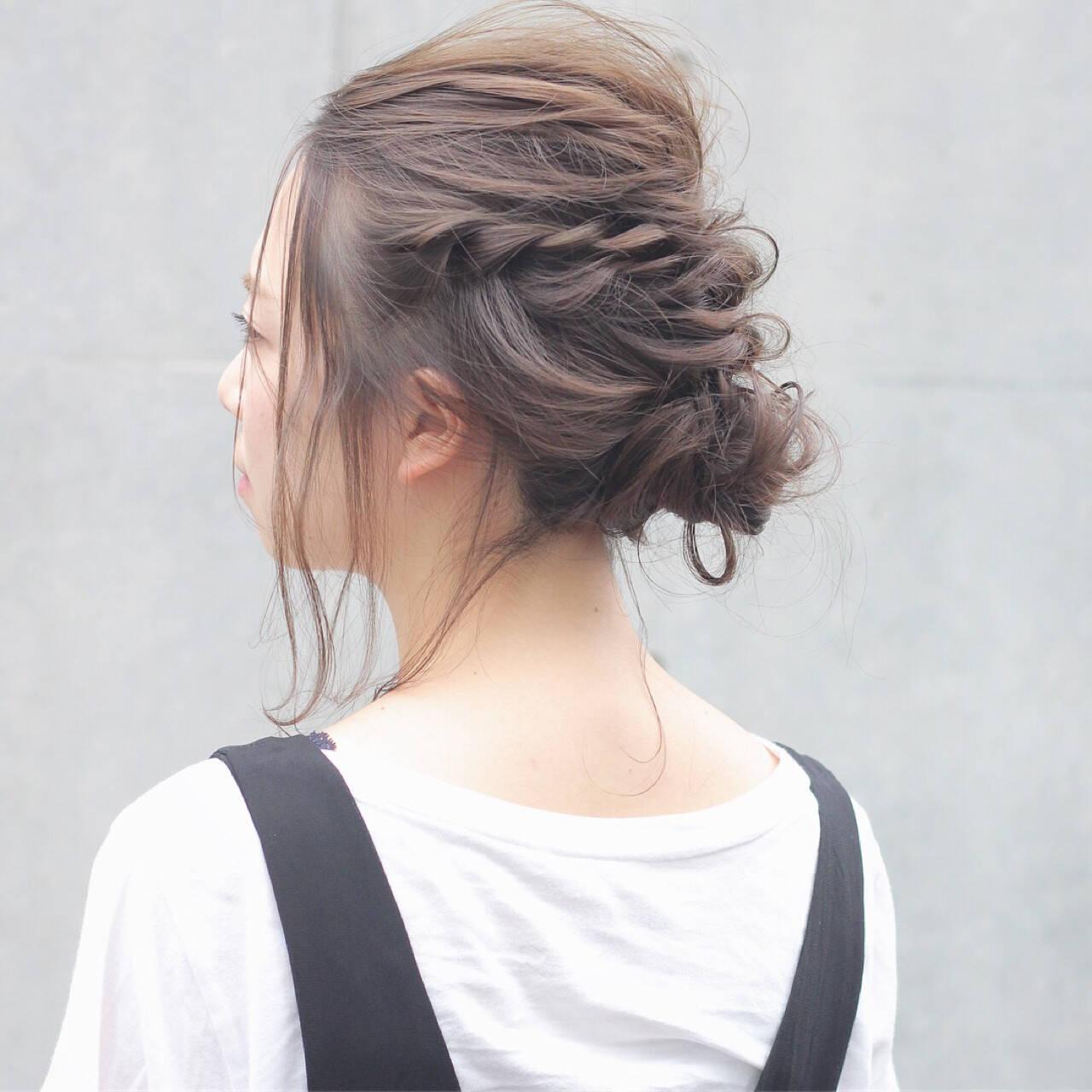 透明感 秋 編み込み ヘアアレンジヘアスタイルや髪型の写真・画像