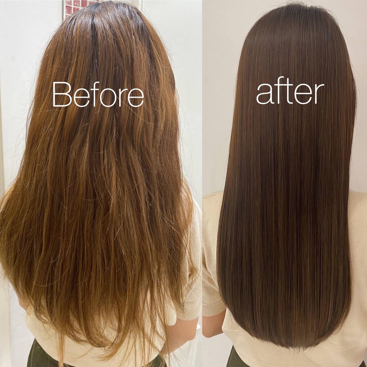髪質改善カラー 髪質改善 ナチュラル ロングヘアスタイルや髪型の写真・画像