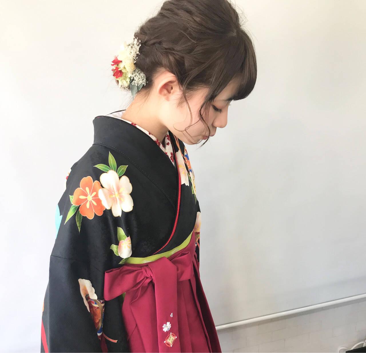 ヘアアレンジ ヘアセット アンニュイほつれヘア 袴ヘアスタイルや髪型の写真・画像