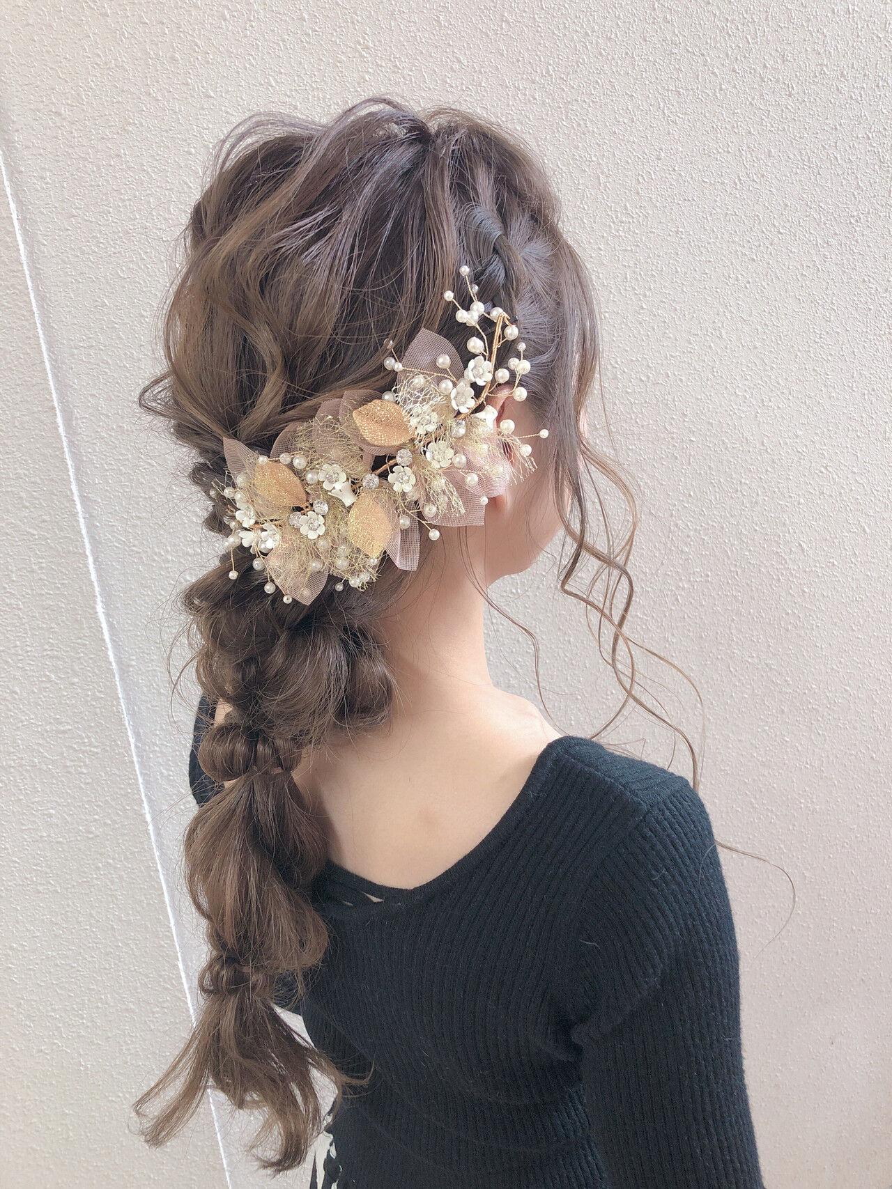 結婚式ヘアアレンジ ふわふわヘアアレンジ ロング ヘアアレンジヘアスタイルや髪型の写真・画像