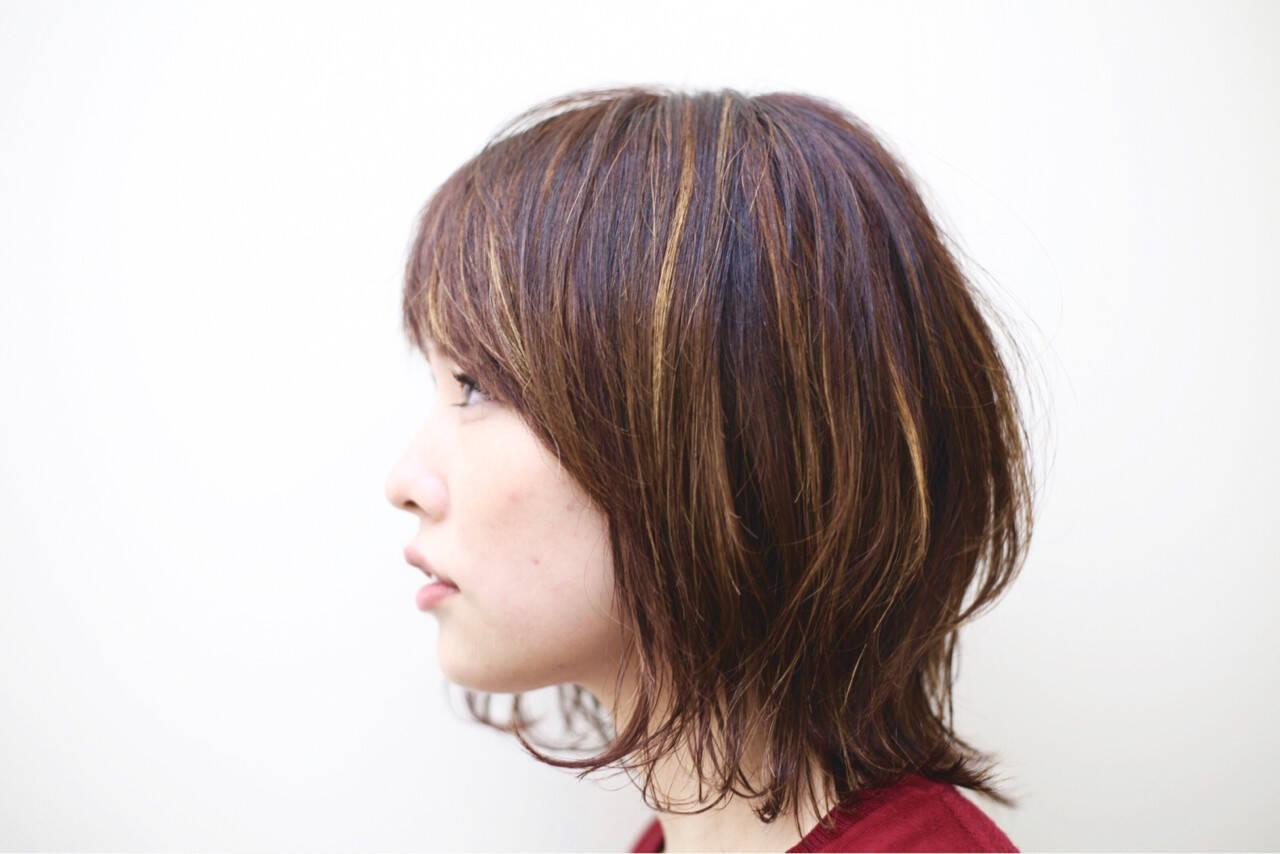 伸ばしかけ モード ミディアム ハイライトヘアスタイルや髪型の写真・画像