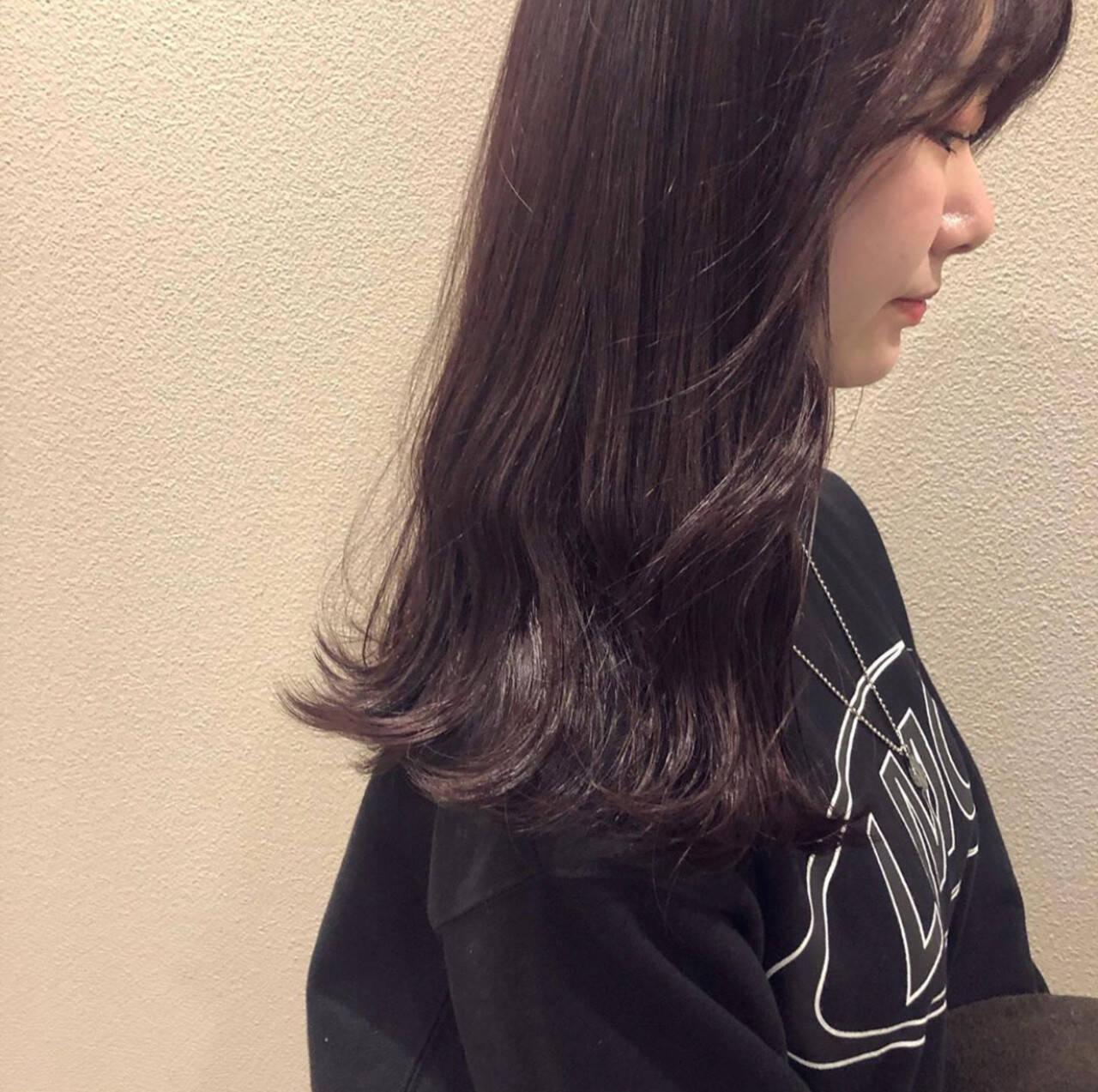 ピンクバイオレット ロング ラベンダーピンク ピンクパープルヘアスタイルや髪型の写真・画像