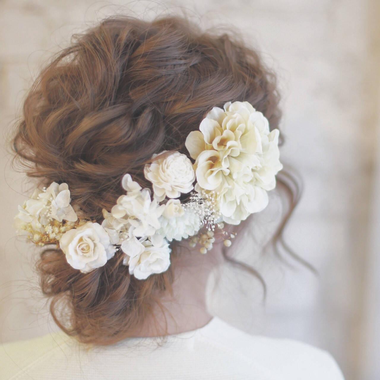 ロング 花 ヘアアレンジ 結婚式ヘアスタイルや髪型の写真・画像